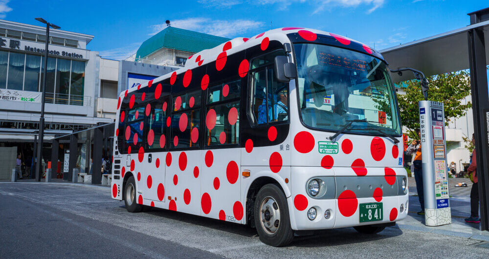"A journey through Yayoi Kusama's birthplace on the world's only ""art-on-wheels""."